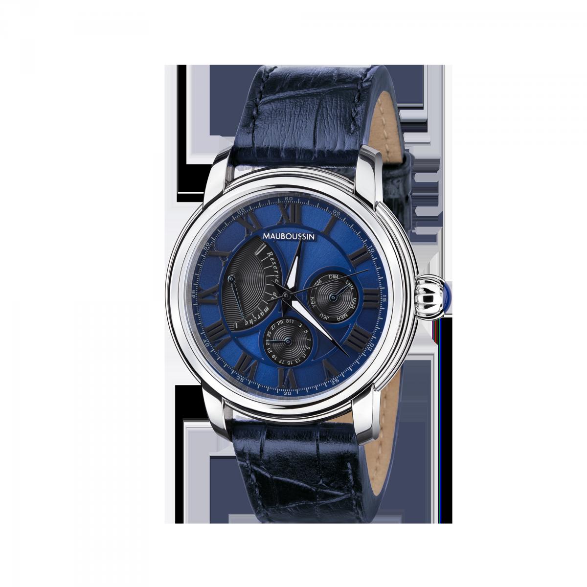 montre-mauboussin-le-temps-ne-s-arrete-jamais-acier-cadran-bleu-mouvement-automatique-avec-reserve-de-marche-n22
